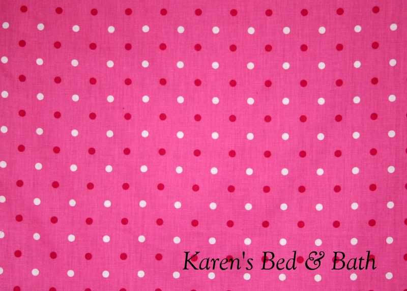 Teen Love Valentine Day Pink White Polka Dots on Pink Curtain Valance