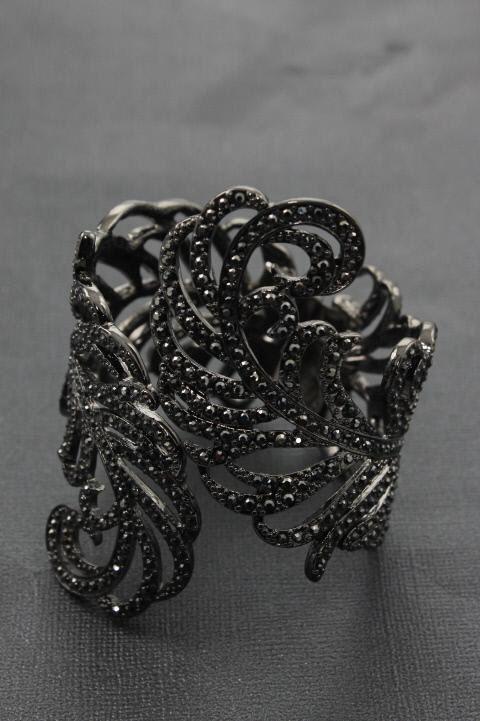Kenneth Jay Lane New Black Glass Crystal Feather Bangle Bracelet