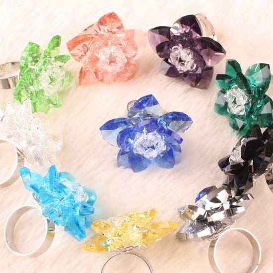 Wholesale Crystal Glass Bead Adjustable Finger Ring 10P