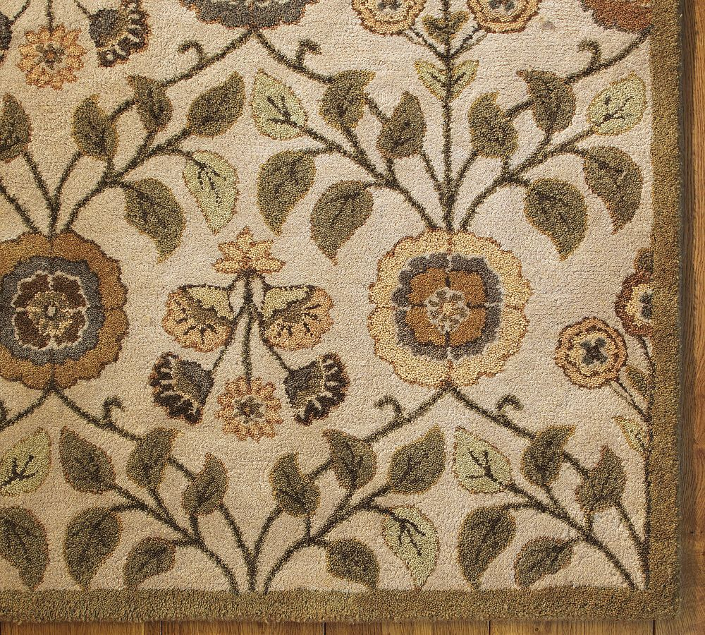 Pottery Barn Leaf Floral Wool Rug 8 X 10 Sold Out Pottery Barn