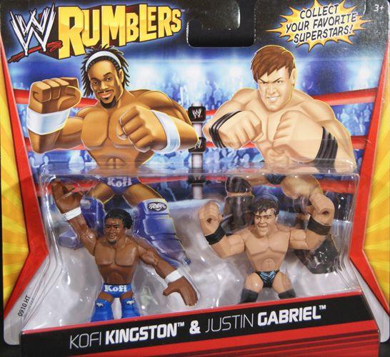 Kofi Kingston Justin Gabriel WWE Rumblers Toy Wrestling Action Figures
