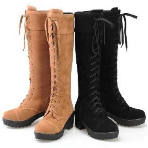 Womens Block Heel Winter Lace Up Style Casual Ladies Suede Grip Knee