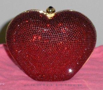 Judith Leiber Red Heart Limited Edition Swarovski Crystal Clutch Purse