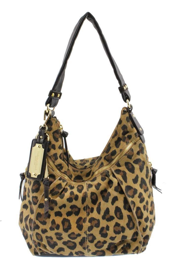 Tignanello Brown Leather Leopard Print Hobo Handbag Medium BHFO