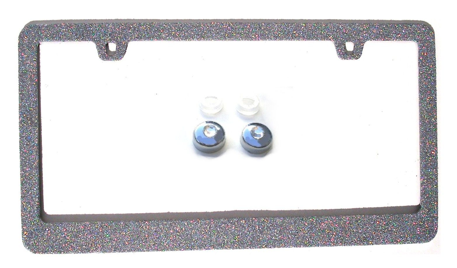 Solid Bling Silver Glitter Rhinestone License Plate Frame Caps Sparkle