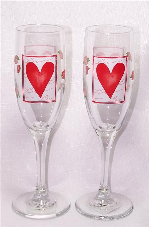 Valentines Day Heart Glass Champagne Flutes Libbey