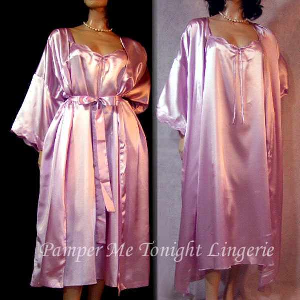 CACIQUE Lavender Shine Liquid Satin NWOT Nightgown & Peignoir Robe Set