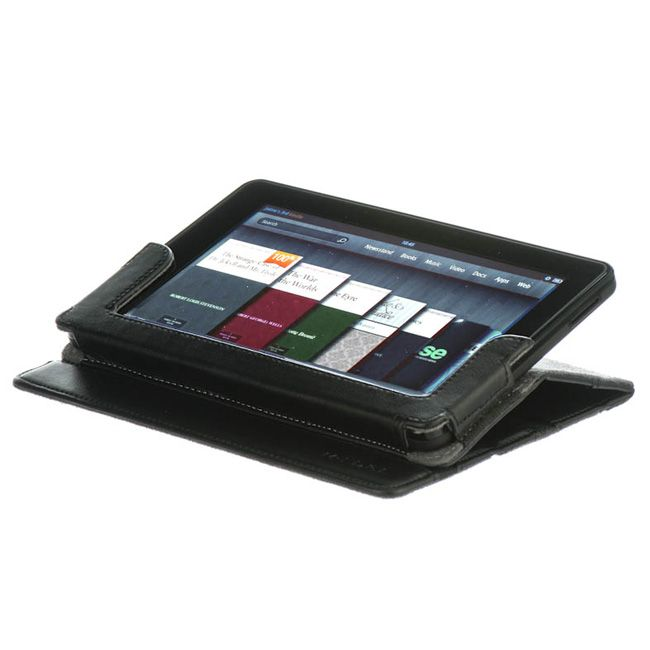 For Kindle Fire M Edge Black Leather Folio Case Cover Stand USB Cable