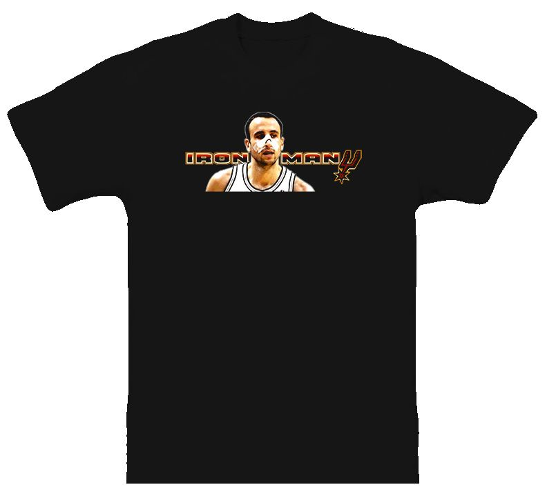 Manu Ginobili San Antonio Spurs Iron Man Black T Shirt