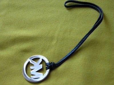 New Michael Kors Polished Silver Chrome MK Black Leather Strap Hangtag