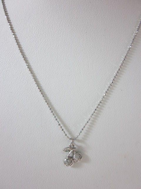 New Designer 14kt White Gold Diamond Cherry Necklace
