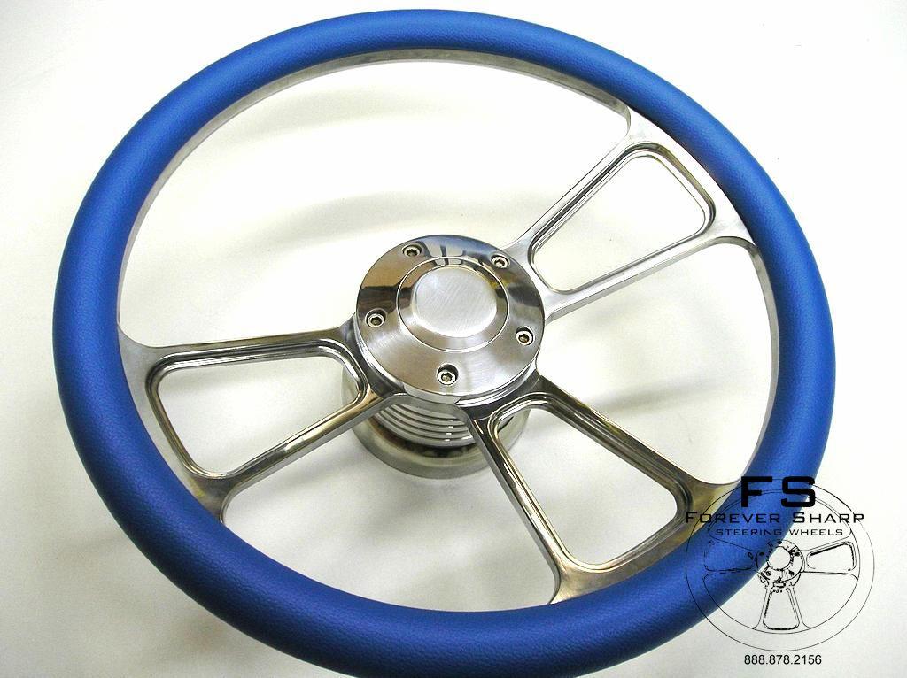 14 Blue Half Wrap Billet Steering Wheel w/ Adapter Chevy Jeep Pontiac