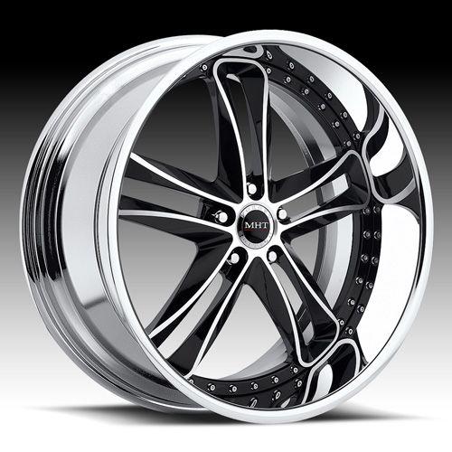 22 MHT Vortex Black Rims Wheels Tires BMW 745 750 650