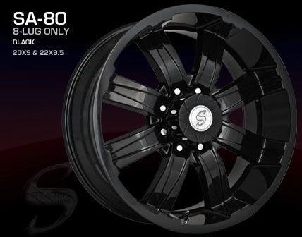 20 inch Ford F 250 350 Wheels Rims 8x170 All Black Rim