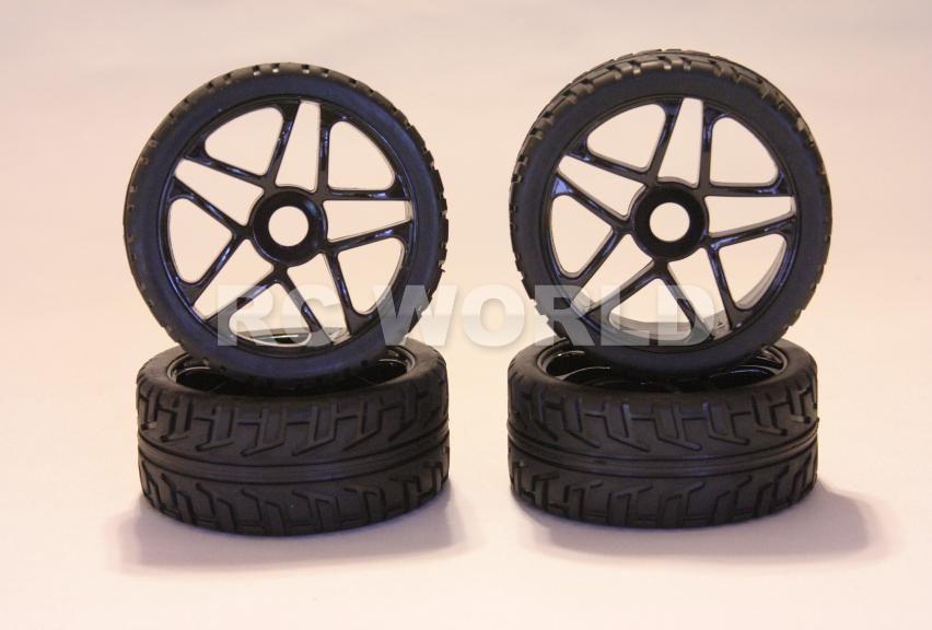 RC 1 8 Car Buggy Truck Tires Wheels Rims Package Black 5 Star Street