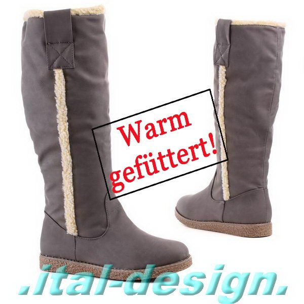 Stiefel Schuhe Damen Keilabsatz Wedges Boots 2149 Grau 38
