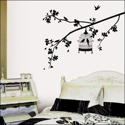new WALL mural DECO STICKER black white flower BIRD &TREE Wall Paper