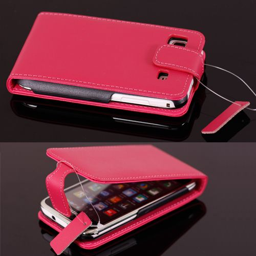 Pink Cell Phone Leather Flip Case Cover Protector Bag 357