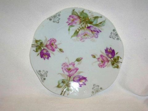 CO MIGNON PLATE PINK PURPLE TULIPS BAVARIA