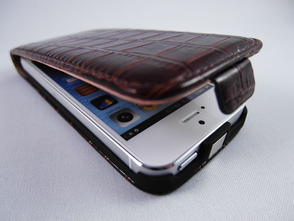 IPHONE 5 KROKO Leder Tasche CROC Leather Flip Case Wallet + 2 TOUCHPEN