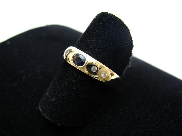 R614 585er 14kt Gelbgold Gold Ring Bandring mit Saphir und Brillanten