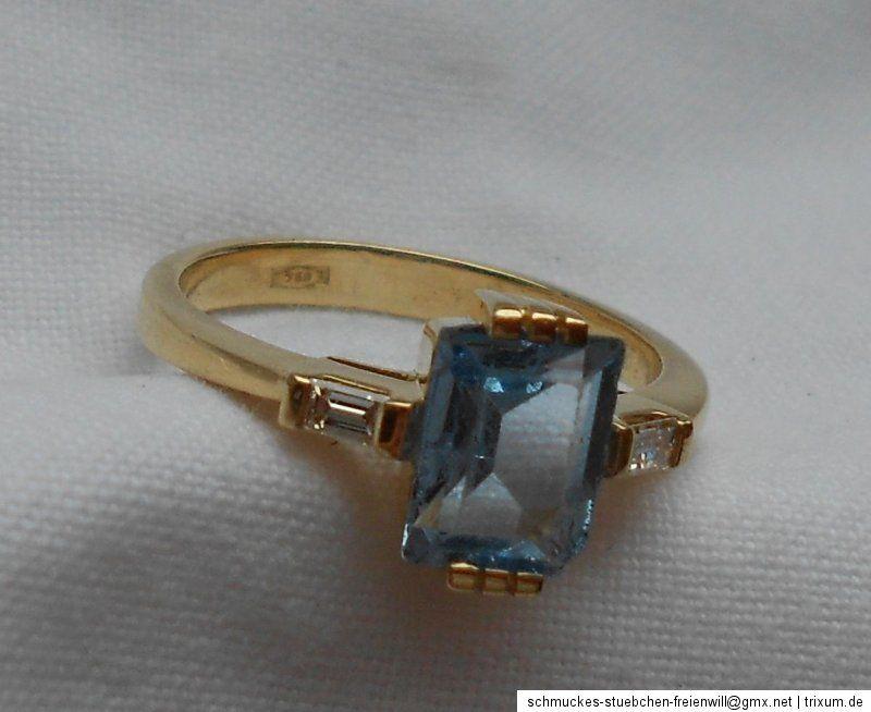 Gold Ring 750 Gold 2 Diamanten 1 Aquamarin 4,13 Gramm Gr. 55